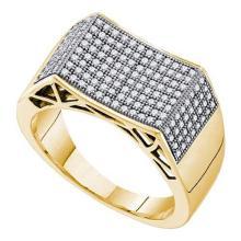 10K Yellow-gold 0.50CT DIAMOND MICRO PAVE MENS RING
