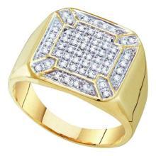 10K Yellow-gold 0.33CTW DIAMOND MICRO PAVE MENS RING