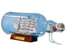 Nautical Blue Flying Cloud Ship in a Bottle 11