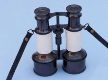 Commanders Oil-Rubbed Bronze/White Leather Binoculars w