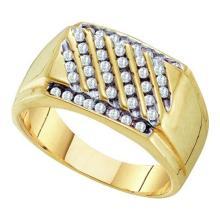 10K Yellow-gold 0.50CTW DIAMOND CLUSTER MENS RING