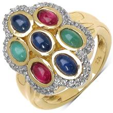 2.67 Carat Genuine Emerald 14K Yellow Gold Plated .925 Sterling Silver Ring