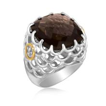 18K Yellow Gold and Sterling Silver Smokey Quartz Fleur De Lis Accented Ring