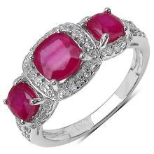 3.24 Carat Genuine Ruby .925 Sterling Silver Ring