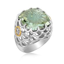 18K Yellow Gold and Sterling Silver Square Green Amethyst Chunky Ring