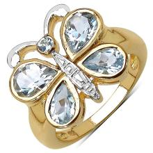 2.03 Carat Genuine Aquamarine 14K Yellow Gold Plated .925 Sterling Silver Ring