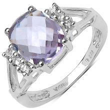 2.72 ct. t.w. Pink Amethyst and White Topaz Ring in Sterling Silver