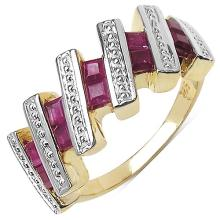 1.20 Carat Genuine Ruby 14K Yellow Gold Plated .925 Sterling Silver Ring