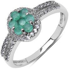 0.58 Carat Genuine Emerald & White Topaz .925 Streling Silver Ring
