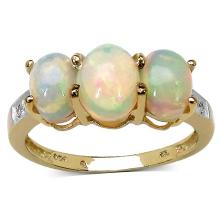 14K Yellow Gold Plated 1.90 ct. t.w. Ethiopian Opal and White Topaz Ring in Sterling Silver
