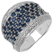 2.90 ct. t.w. Blue Sapphire and White Topaz Ring in Sterling Silver