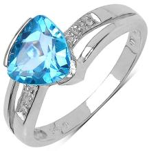 2.01 Carat Genuine Blue Topaz & White Diamond .925 Sterling Silver Ring
