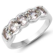 1.25 Carat Genuine Morganite .925 Sterling Silver Ring