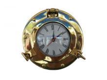 Nautical Brass Deluxe Edition Porthole Clock 8
