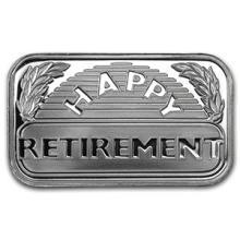1 oz Silver Bar - Happy Retirement