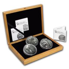 2015-2017 Cook Islands 3-Coin Silver North American Predators Set