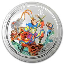2016 Australia 5 oz Silver Lunar Monkey King Colorized BU #21717v3
