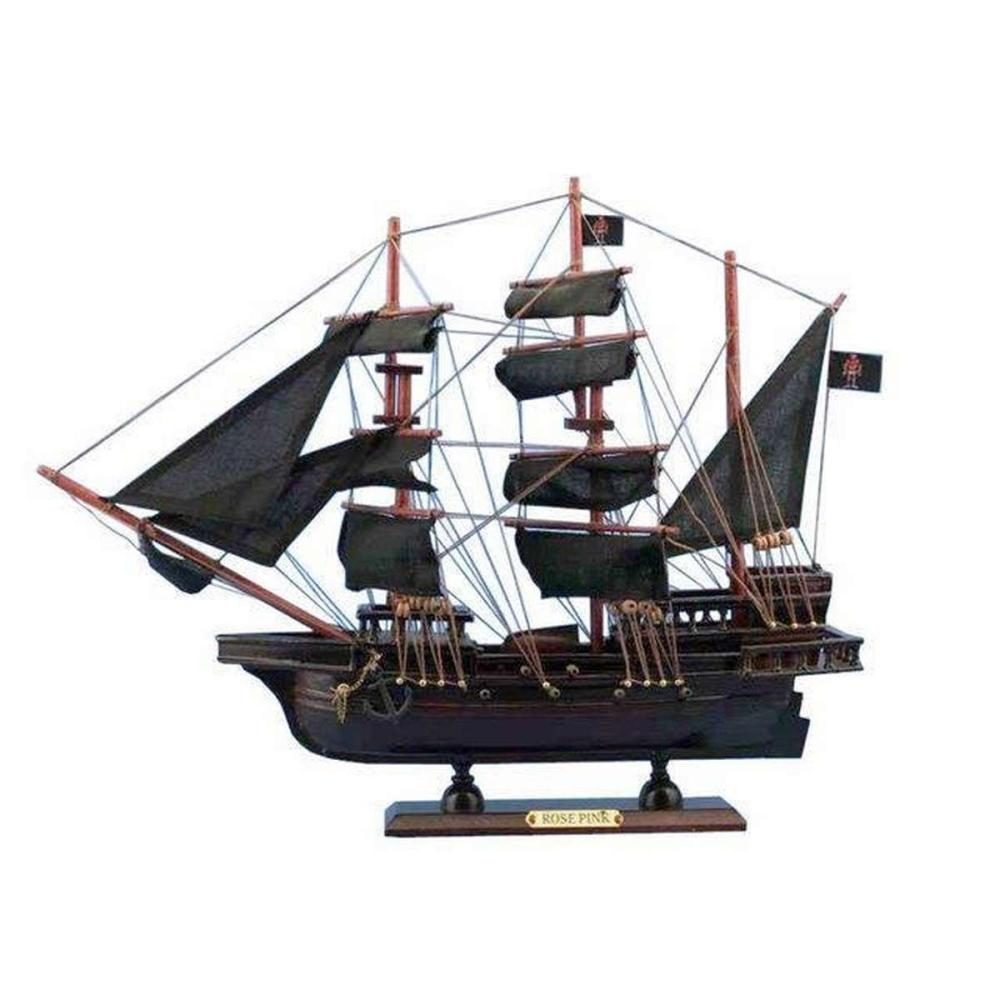 Wooden Ed Lows Rose Pink Model Pirate Ship 20in.