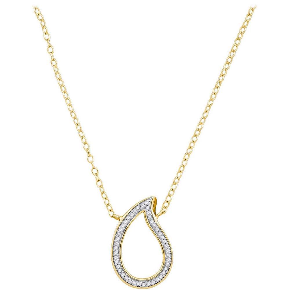 10k Yellow Gold Womens Round Diamond Teardrop Pendant Necklace 1/10 Ctw