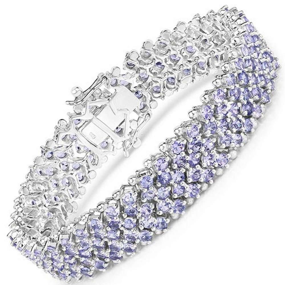 14.70 CTW Genuine Tanzanite .925 Sterling Silver Bracelet