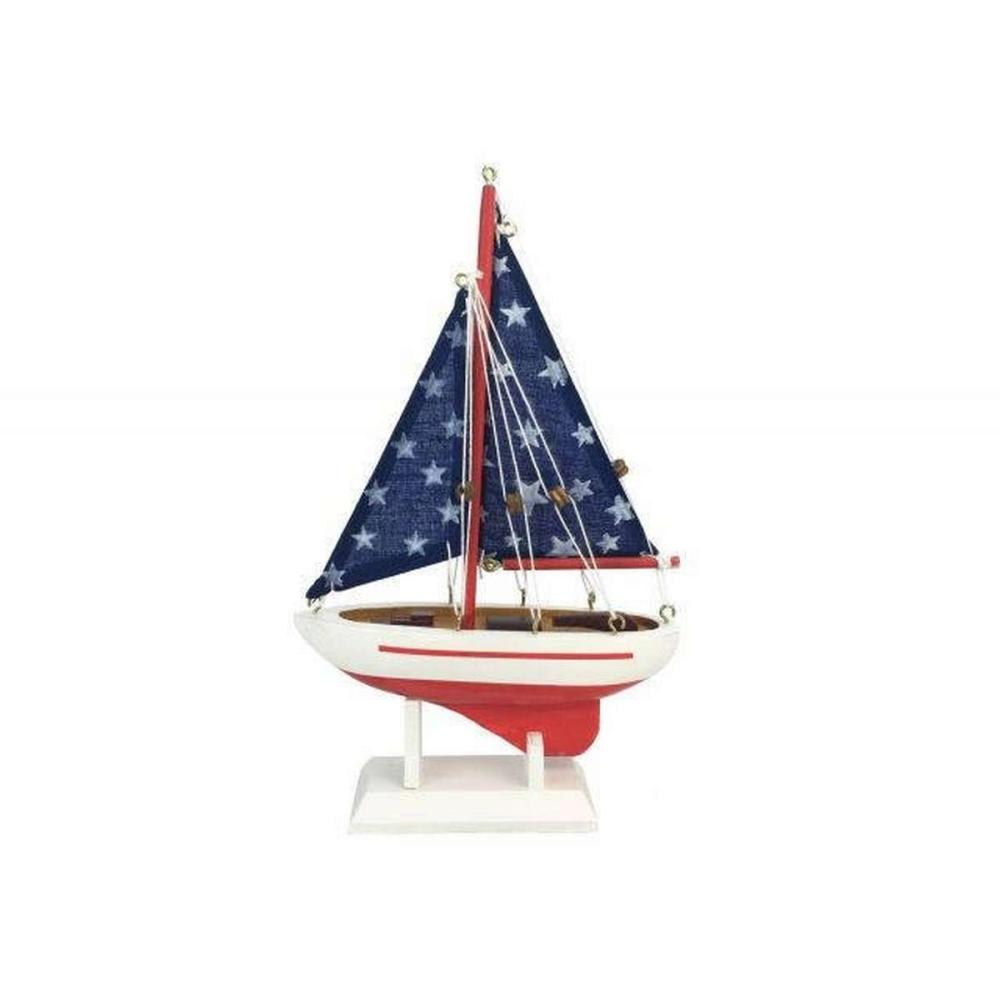 Wooden Starry Night Model Sailboat 9in.