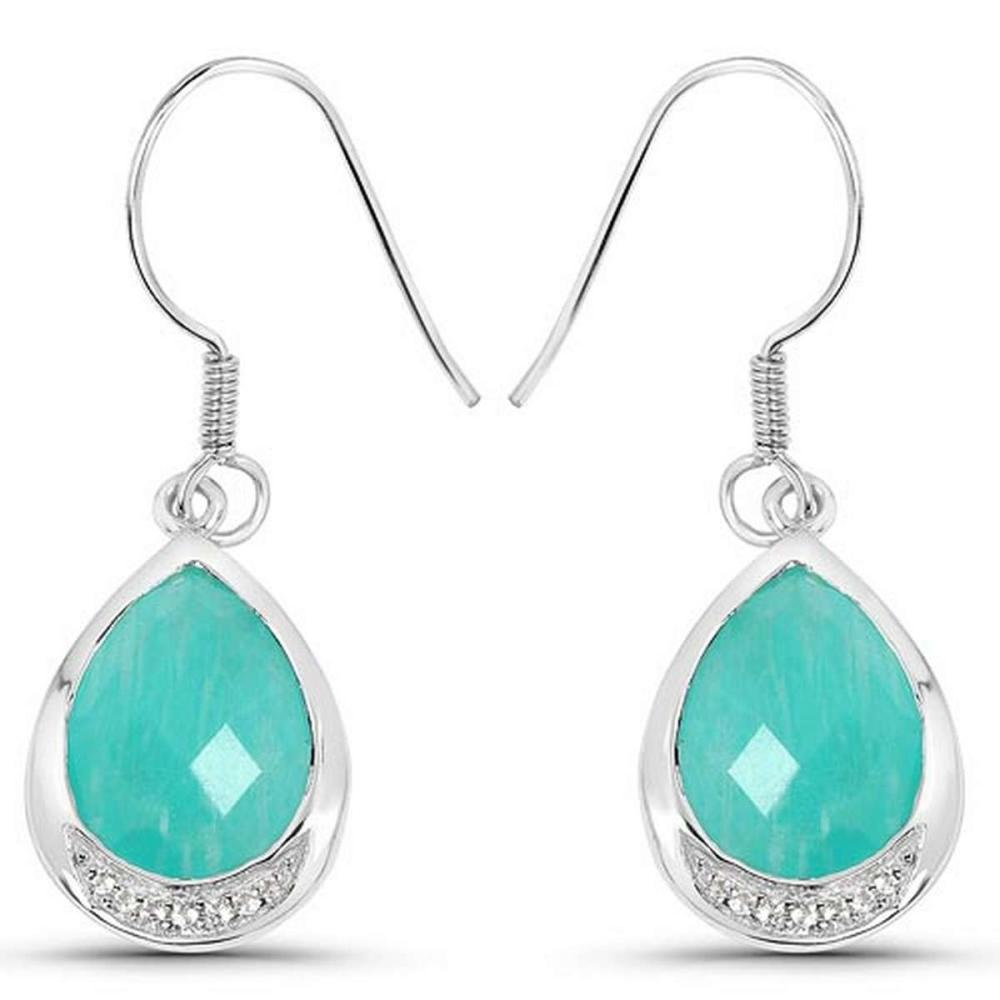 9.27 CTW Genuine Amazonite And White Topaz .925 Sterling Silver Earrings