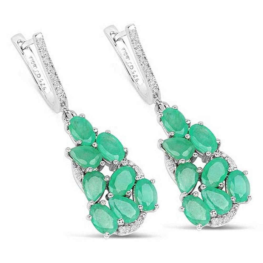 6.69 CTW Genuine Emerald and White Diamond .925 Sterling Silver Earrings