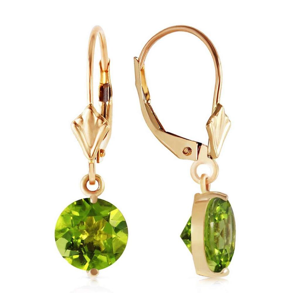 3.1 CTW 14K Solid Gold Charmed Life Peridot Earrings