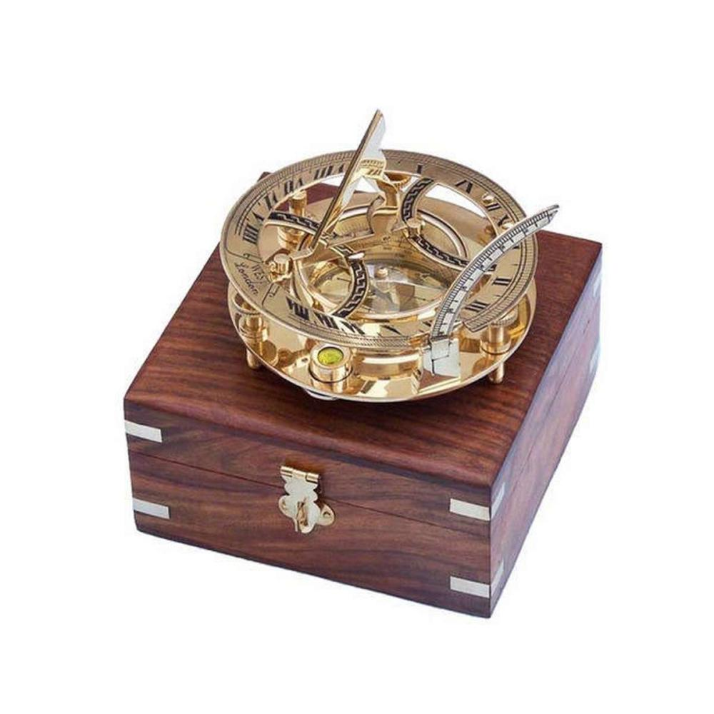 Solid Brass Round Sundial Compass w/ Rosewood Box 6in.