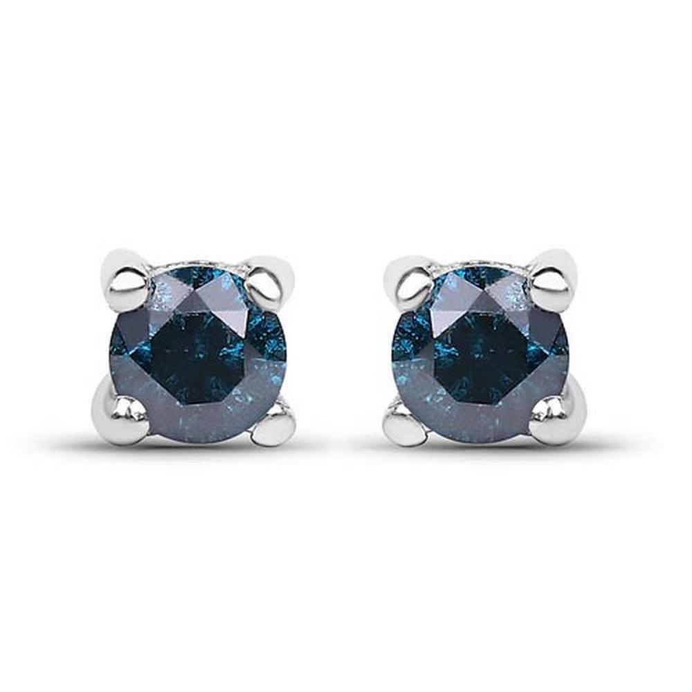 0.21 CTW Genuine Blue Diamond .925 Sterling Silver Earrings