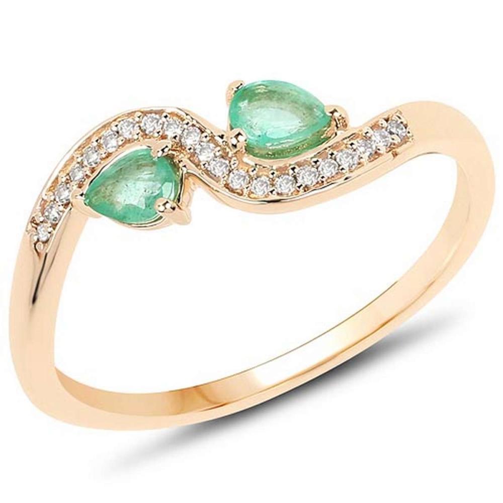 0.34 Carat Genuine Zambian Emerald and White Diamond 14K Yellow Gold Ring