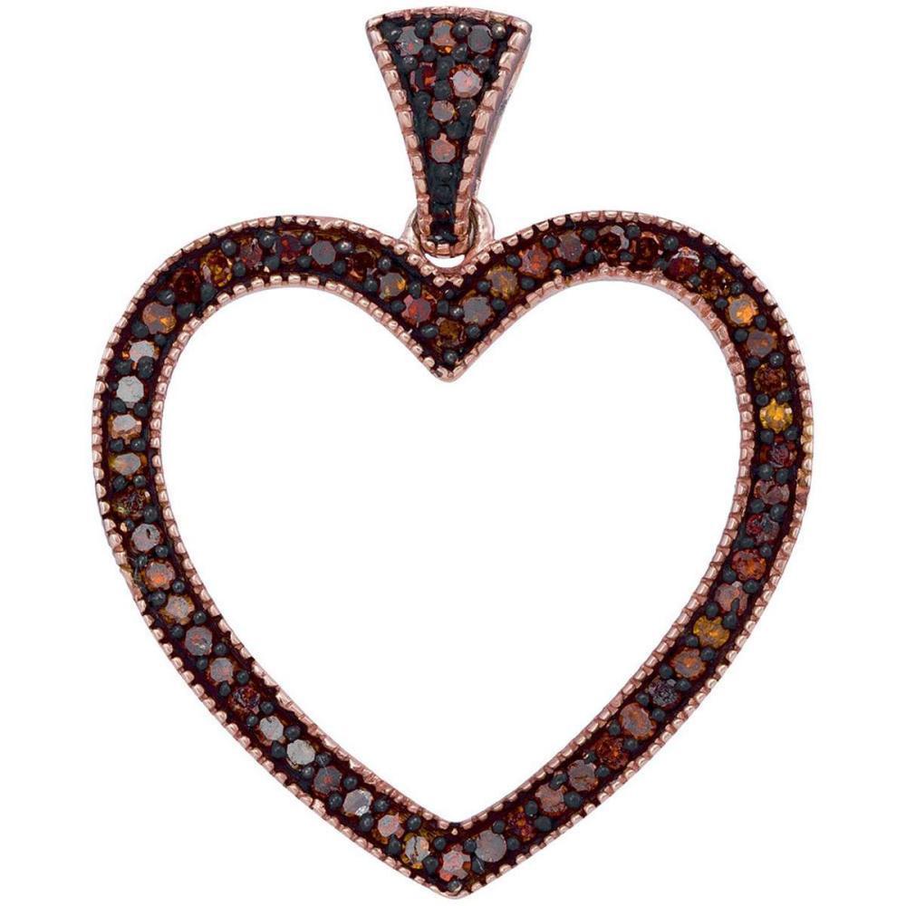 10k Rose Gold Round Red Color Enhanced Diamond Heart Love Fashion Pendant 1/5