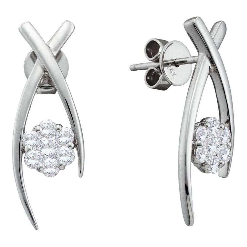 14k White Gold Womens Round Diamond Flower Cluster Screwback Stud Earrings