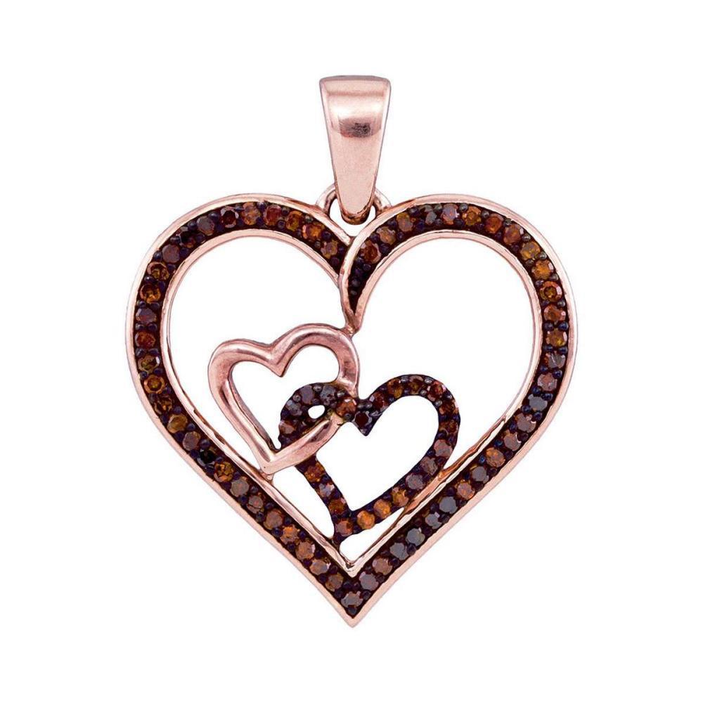 10k Rose Gold Round Red Color Enhanced Diamond Heart Love Fashion Pendant 1/4