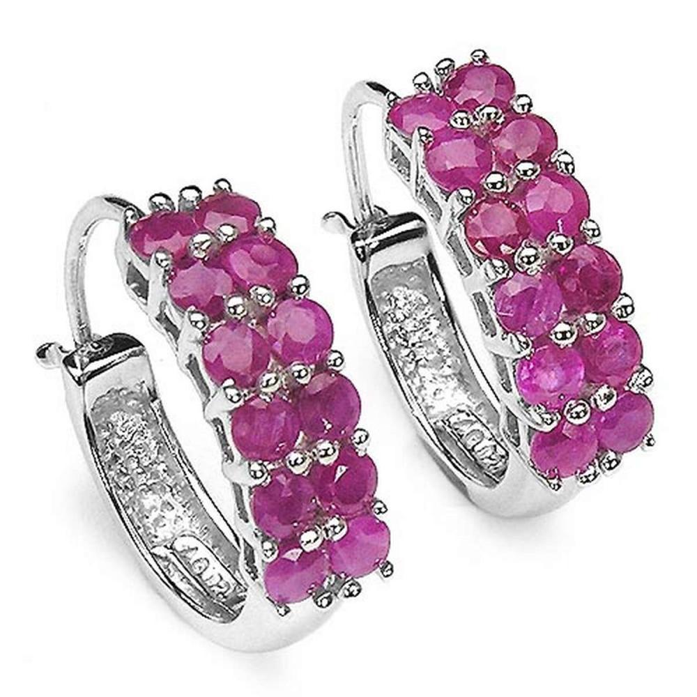 3.12 Carat Genuine Ruby .925 Sterling Silver Earrings