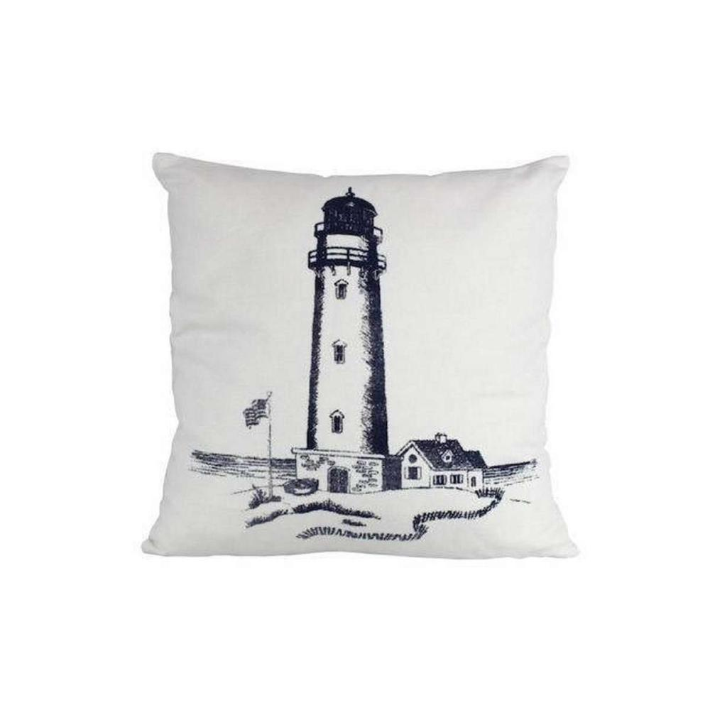 Blue Lighthouse Decorative Throw Pillow 16in.