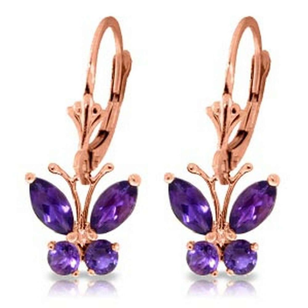 1.24 CTW 14K Solid Rose Gold Butterfly Earrings Natural Amethyst