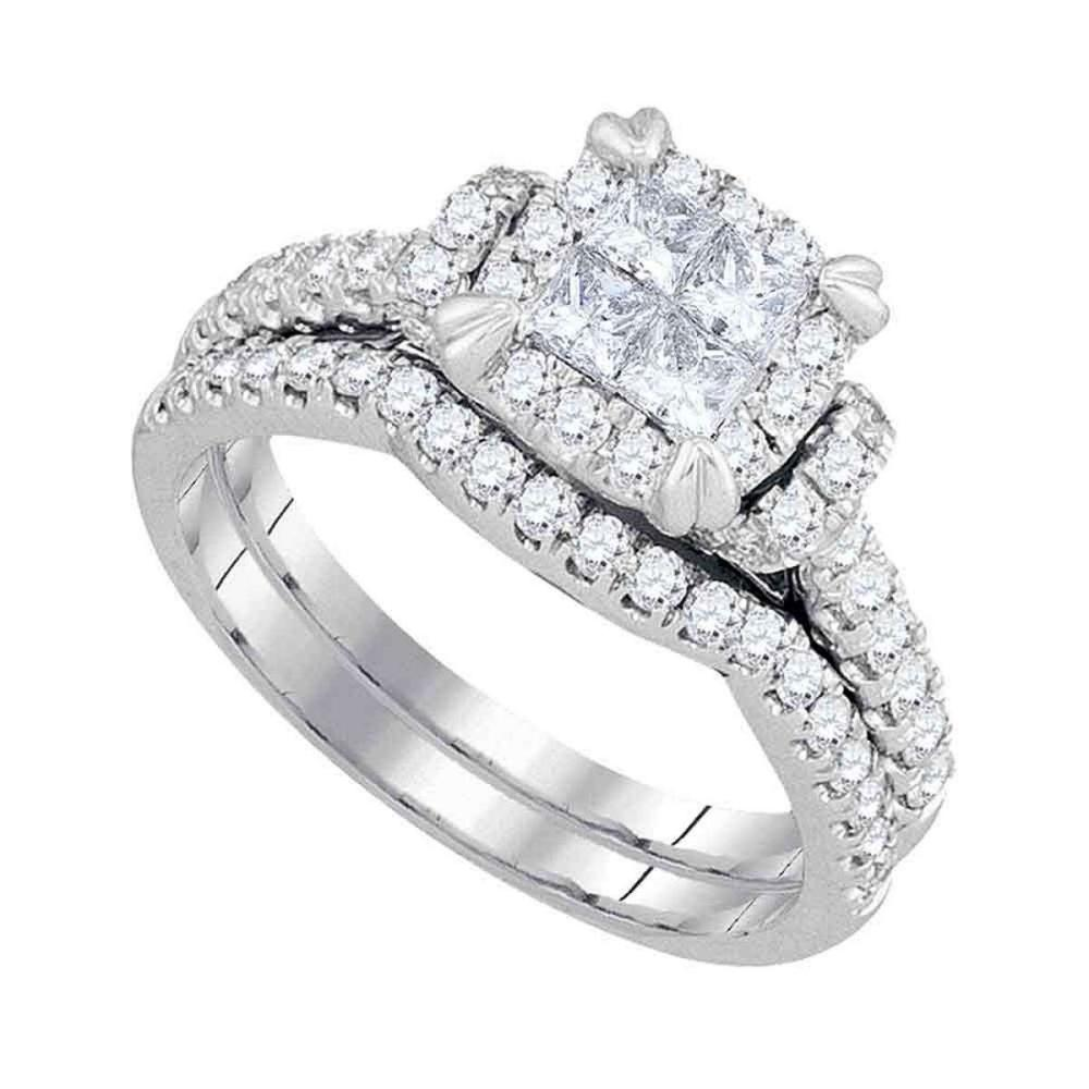 14kt White Gold Princess Diamond Bridal Wedding Engagement Ring Set 1-1/4 Ctw