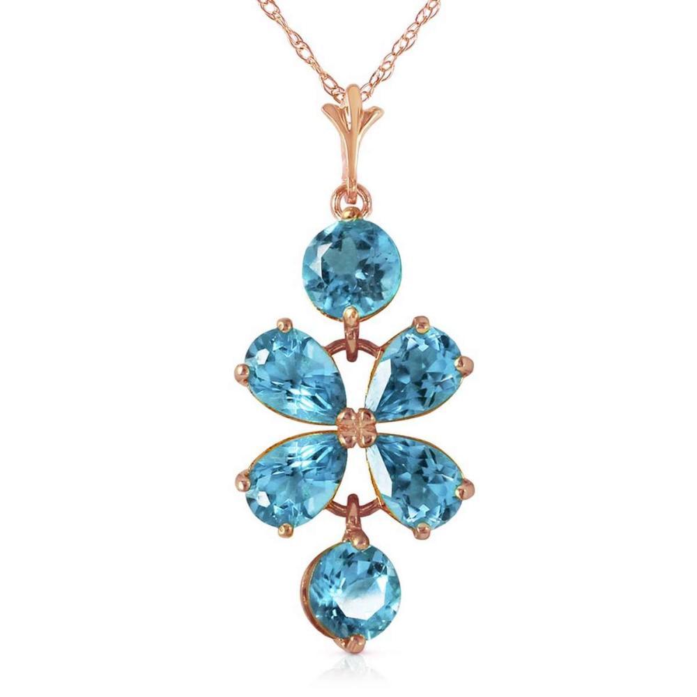 3.15 Carat 14K Solid Rose Gold Petals Blue Topaz Necklace