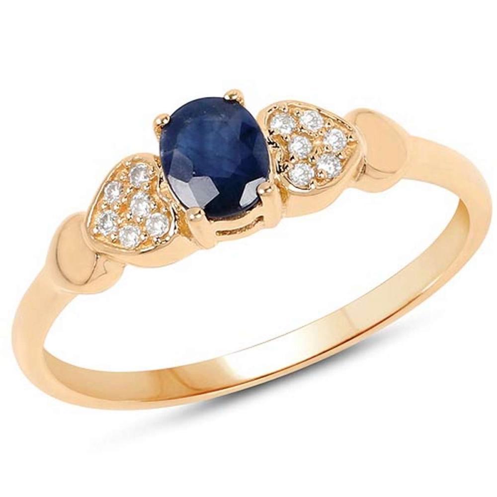 0.44 Carat Genuine Blue Sapphire and White Diamond 14K Yellow Gold Ring