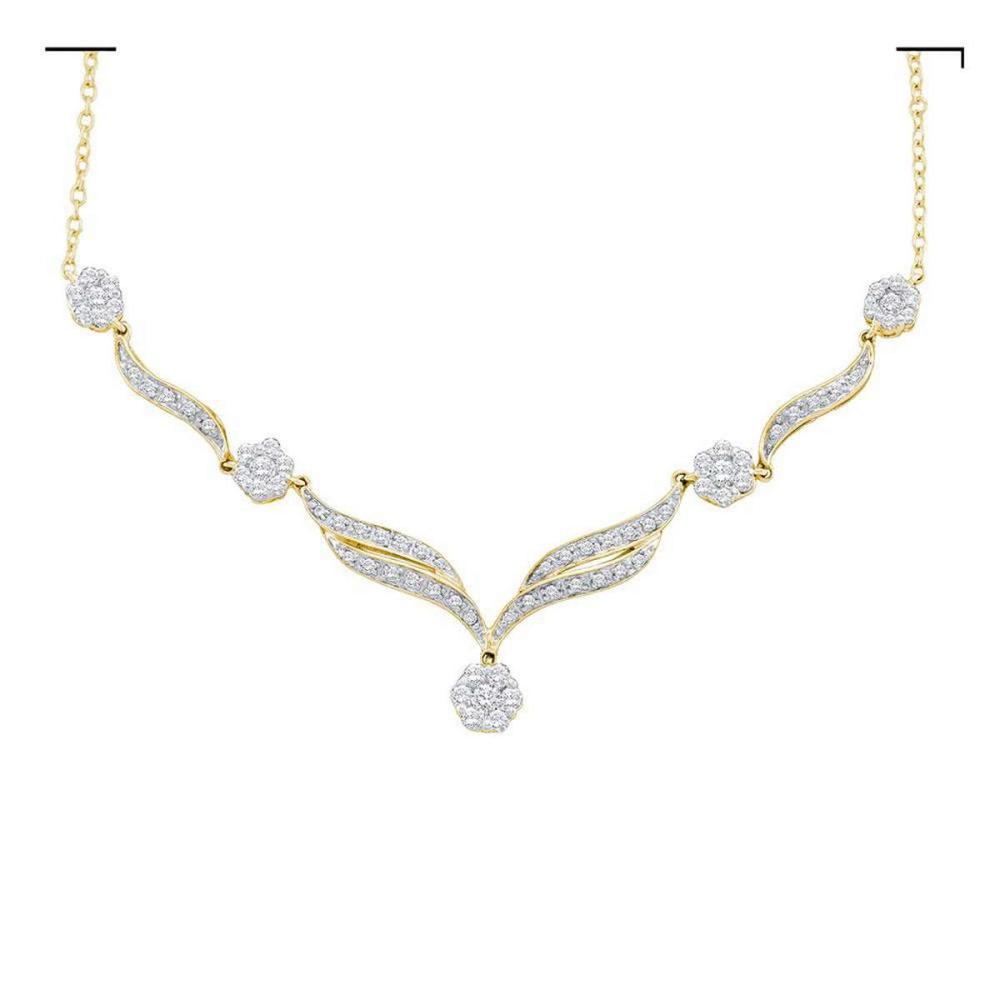 14k Yellow Gold Womens Round Diamond Y-Shape Cluster Fashion Necklace 3/4 Cttw