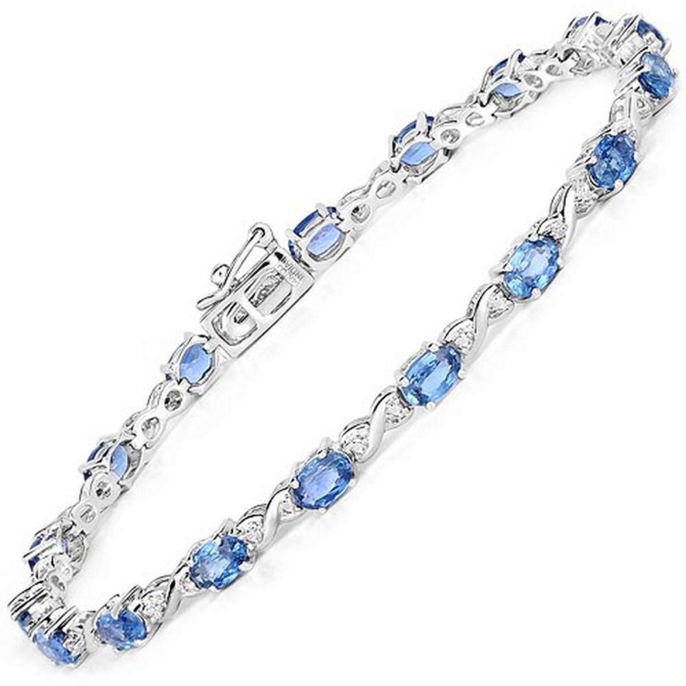 5.31 CTW Genuine Blue Sapphire and White Diamond 14K White Gold Bracelet