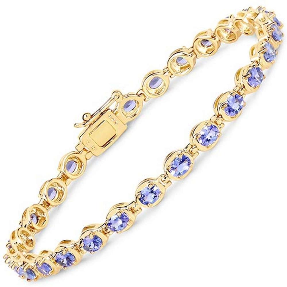 14K Yellow Gold Plated 4.59 CTW Genuine Tanzanite .925 Sterling Silver Bracelet