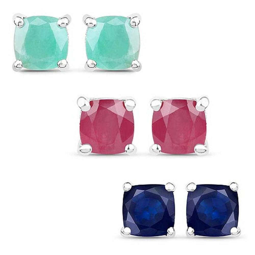 3.60 CTW Emerald Glass Filled Ruby and Glass Filled Sapphire .925 Sterling Silver Earrings