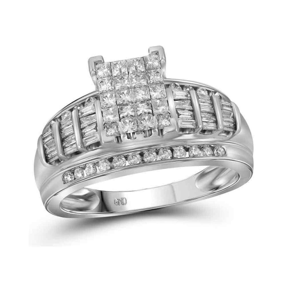 10kt White Gold Princess Diamond Cluster Bridal Wedding Engagement Ring 1.00 Ctw