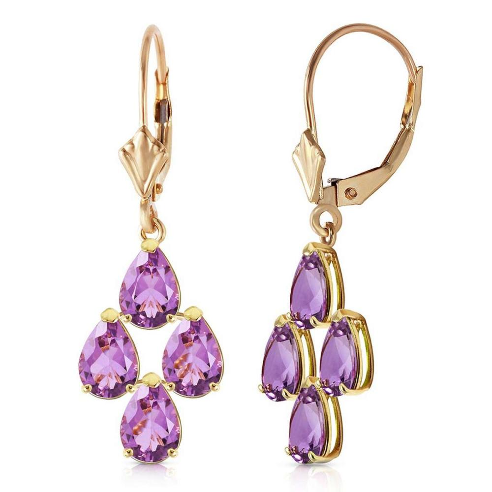 3 Carat 14K Solid Rose Gold pearll Amethyst Leverback Earrings