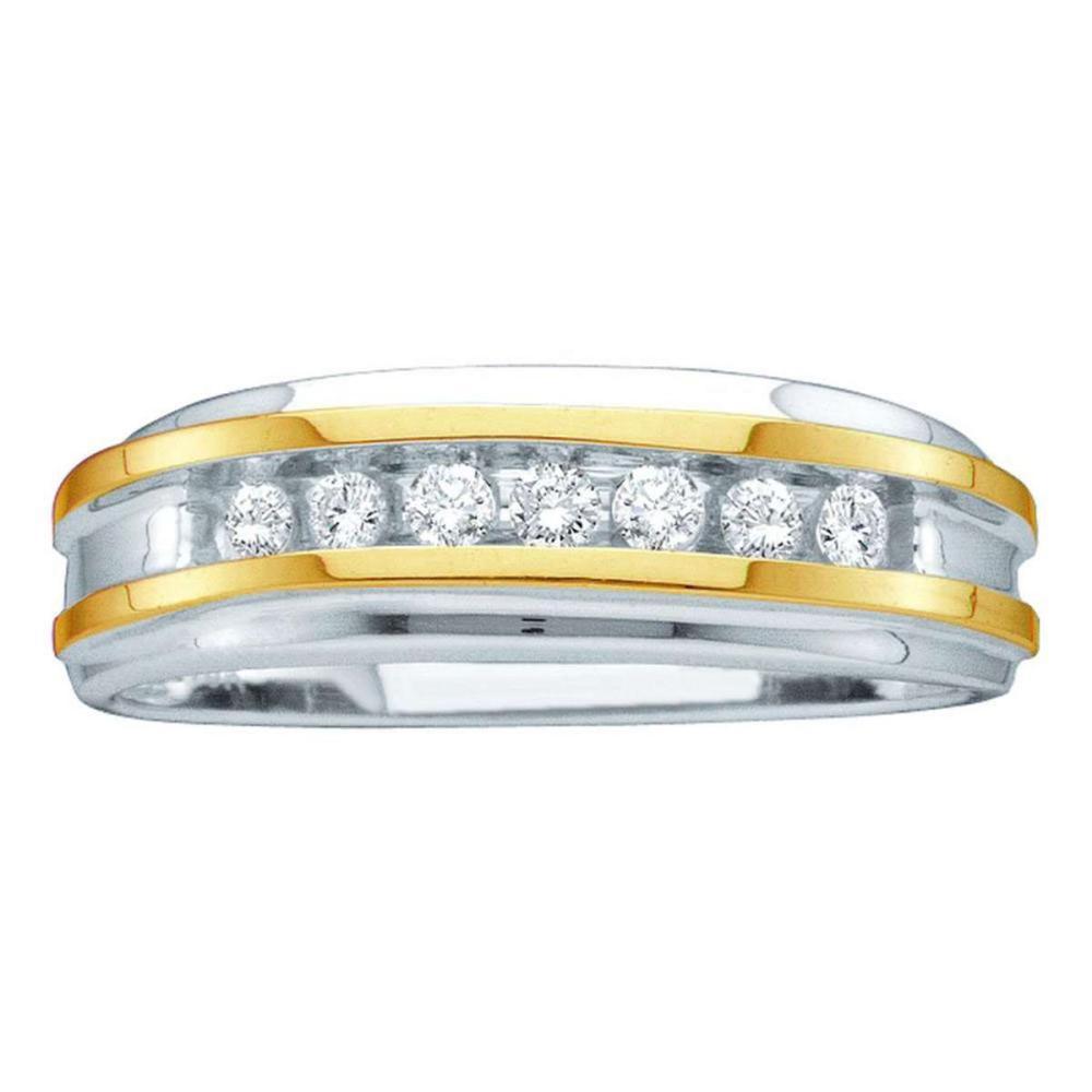 14k White Two-tone Gold Mens Round Channel-set Diamond Wedding Band 1/4 Cttw