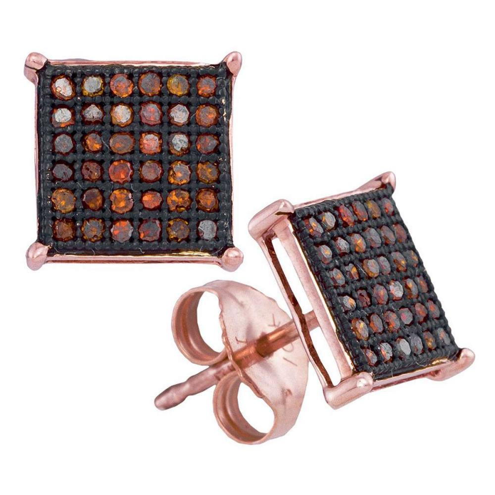 10k Rose Gold Round Red Color Enhanced Diamond Cluster Square Earrings 1/4 Ctw