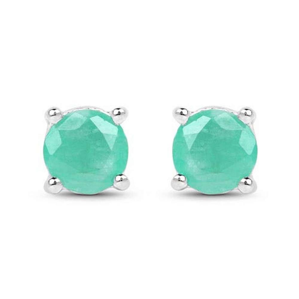 1.50 CTW Genuine Emerald .925 Sterling Silver Earrings