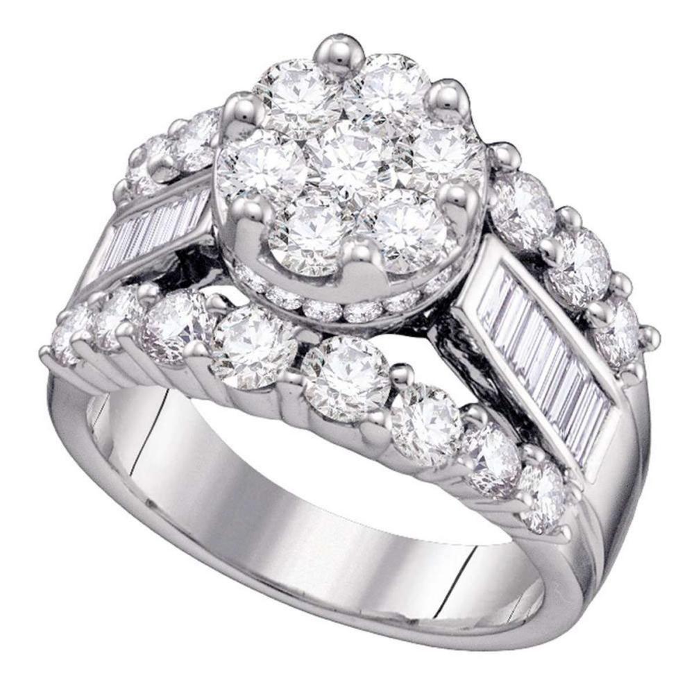 14kt White Gold Round Diamond Cluster Bridal Wedding Engagement Ring 1.00 Ctw